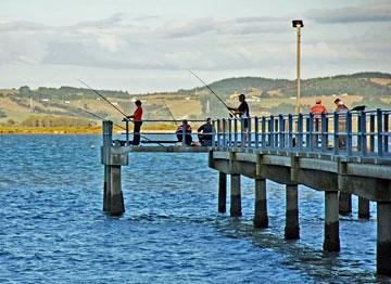 Trying your luck at fishing off the Shelly Beach pier