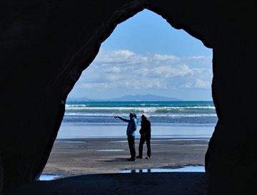 Cave archway on the beach